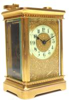 Good Antique French 8-day Carriage Clock Bevelled Case with Embossed Decorated Masked Dial (11 of 12)