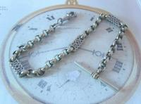 Antique Pocket Watch Chain 1890s Victorian Large Silver Nickel Fancy Link Albert (4 of 12)