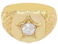 0.45ct Diamond & 18ct Yellow Gold Signet Ring - Antique c.1900 (4 of 9)