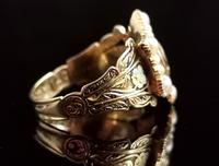 Antique Mourning Ring, 18ct Gold, Enamel, Pearl & Garnet - William IV (5 of 13)