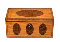 George III Period Satinwood & Burr Yew Tea Caddy (4 of 6)