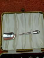 Vintage Sterling Silver Hallmarked Cased Tea Spoons & Shovel 1959 J B Chatterley & Sons Ltd (4 of 9)