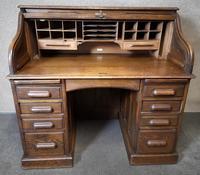 Antique Edwardian Oak Roll Top Pedestal Desk (7 of 10)