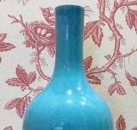 Chinese Turquoise Glaze Mallet Shape Vase 6 Character Mark (2 of 7)