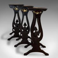 Antique Nest Of Occasional Tables, Oriental, Trio, Japanned, Victorian c.1880 (6 of 12)