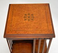 Antique Inlaid Walnut Revolving Bookcase (4 of 6)