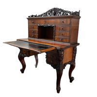 19th Century Carved Walnut Bureau Desk