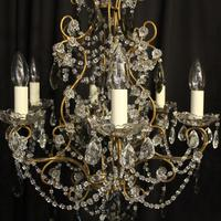 French Pair of Six Light Antique Chandeliers (4 of 10)