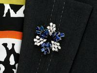7.95ct Sapphire & 4.75ct Diamond, Platinum Pendant / Brooch - Vintage c.1960 (9 of 9)