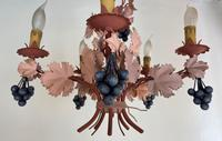 Vintage French 5 Arm Toleware Ceiling Light Chandelier with Grapes (7 of 7)