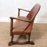 Carved Oak Leather Bucket Sofa & Chair (9 of 24)