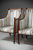 Pair Mahogany Upholstered Armchairs (8 of 11)