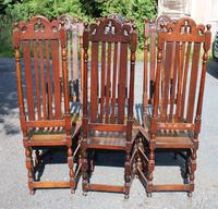 1900's Set 6 Carved Highback Oak Dining Chairs -carolean Style (5 of 5)