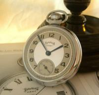 Vintage Pocket Watch 1955 Services Army Two Tone Dial Chrome Case FWO (3 of 10)
