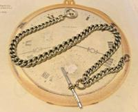 Victorian Pocket Watch Chain 1890s Antique Albo Silver Curb Link Albert With T Bar (3 of 12)