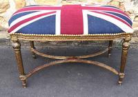 Large 20th Century French Giltwood Stool - Union Jack