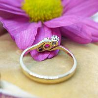 Vintage 18ct Gold Ruby & Diamond Three Stone Bypass Ring (2 of 7)