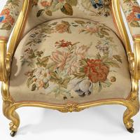Pair of High Victorian Giltwood & Needlework Armchairs by Gillows (12 of 15)