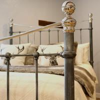 Charcoal Victorian Bed with Nickel Plating (3 of 11)