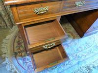 Edwardian Oak Pedestal Desk with Gallery (6 of 9)