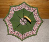 Vintage 12ct Rolled Gold Ladies Umbrella W/ Green Paisley Pattern Cotton Canopy (2 of 13)