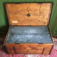 Antique Victorian Bound Campaign Chest Old Rustic Pine Wooden Storage Trunk + Full Zinc Interior + Key (9 of 10)