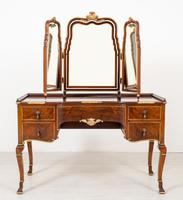 Quality Queen Anne Style Walnut Dressing Table & Mirror c.1920 (2 of 14)