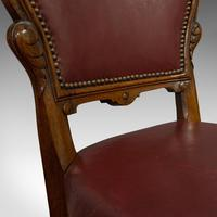 Pair of Antique Chairs, Walnut, Leather, Seat, Doveston, Bird & Hull, Victorian (9 of 12)