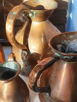 Antique set of 5 x Graduated Copper haystack Jugs Gallon down to Gill (4 of 9)