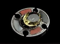 Antique Scottish Agate and Citrine Brooch, Sterling Silver (6 of 11)