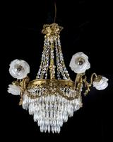 A Late 19th Century Gilt Bronze and Cut Glass Six Arm Chandelier (6 of 6)