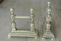 Quality Pair of Victorian Brass Fire Dogs Fire Iron Rests Andirons c.1890 (3 of 9)