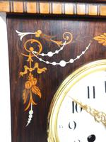 Incredible Rosewood Cased Mantel Clock with Multi Wood & Mother of Pearl Inlay 8–day Striking Clock (3 of 12)