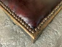 Pair of Moroccan Country House Studded & Leather Upholstered Footstools Seats (4 of 9)