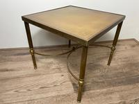 French Brass Square Leather Top Coffee Table (12 of 28)