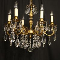 Italian 6 Light Gilded Antique Chandelier (2 of 10)