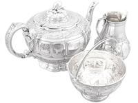 Sterling Silver Three Piece Zodiac Tea Service - Antique Victorian 1882 (3 of 24)