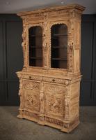 Carved Raw Oak Glazed Bookcase (10 of 21)