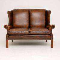 Antique Georgian Style Leather Wing Back Sofa (4 of 11)