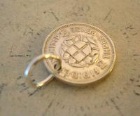 Vintage Pocket Watch Chain Fob 1941 WW2 Lucky Silver Three Pence Old 3d Coin Fob (4 of 6)