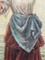 """Pair of Victorian Oil Paintings """"Cockle Pickers"""" Female Figures on Beach Shoreline (15 of 33)"""