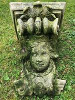 Architectural Feature Medieval Style Stone Cherub Acanthus Scroll Crown Corner Garden Corbel (2 of 13)