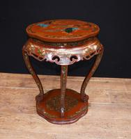 Chinese Pedestal Stand Table in Cinnabar Lacquer Chinoiserie (10 of 26)