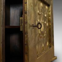 Petite Corner Cupboard, Brass, Mahogany, Wall, Cabinet, Art Nouveau, Victorian (5 of 12)