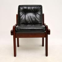 Rosewood & Leather Dining Table & Chairs Vintage 1970's (5 of 19)