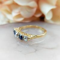 Antique 18ct Yellow Gold Diamond & Sapphire Five Stone Ring, Victorian (9 of 10)