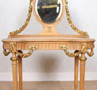 Neoclassical Marble Dressing Table Gilt Mirrored Vanity Satinwood (11 of 14)
