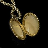 Antique Oval Buckle Fancy Locket and Rope Chain Sterling Silver Gold Gilt Necklace (3 of 11)