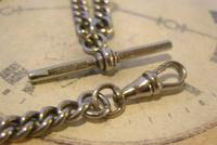 Antique Pocket Watch Chain 1890s Victorian NCR Co Silver Nickel Albert With T Bar (9 of 12)