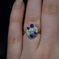 Antique Blue Sapphire and Old Cut Diamond Cluster 18ct 18K Yellow Gold and Platinum Ring (7 of 10)